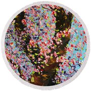 Round Beach Towel featuring the painting Love Wound by Meaghan Troup
