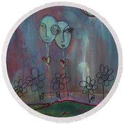 Love You Give Lollipops Round Beach Towel