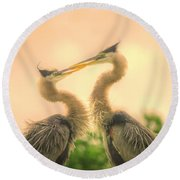 Round Beach Towel featuring the photograph Lovebirds  by Dennis Baswell