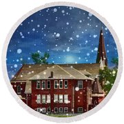 Round Beach Towel featuring the photograph Lovely Country Church by Liane Wright