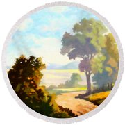 Round Beach Towel featuring the painting Lovely Day by Anthony Mwangi