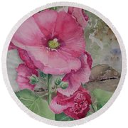 Lovely Hollies Round Beach Towel by Marilyn Zalatan