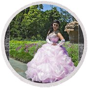 Lovely Lady At The Dallas Arboretum Round Beach Towel