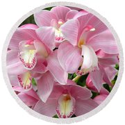 Round Beach Towel featuring the photograph Cymbidium Pink Orchids by Jeannie Rhode