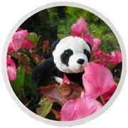 Lovely Pink Flower Round Beach Towel by Ausra Huntington nee Paulauskaite