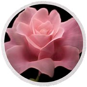 Round Beach Towel featuring the digital art Lovely Pink Rose by Nina Bradica