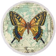 Lovely Yellow Butterfly On Tin Tile Round Beach Towel by Jean Plout