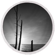 Lovers Key Sunset Black And White One Round Beach Towel