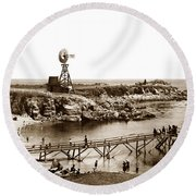 Lovers Point Beach And Old Wooden Pier Pacific Grove August 18 1900 Round Beach Towel
