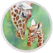 Round Beach Towel featuring the digital art Loving Mother Giraffe2 by Jane Schnetlage