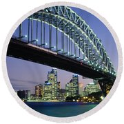 Low Angle View Of A Bridge, Sydney Round Beach Towel