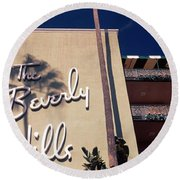 Low Angle View Of A Hotel, Beverly Round Beach Towel