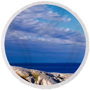 Low Angle View Of A Lighthouse, Peggys Round Beach Towel