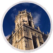 Low Angle View Of A Monastery, Mosteiro Round Beach Towel