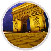 Low Angle View Of A Triumphal Arch, Arc Round Beach Towel