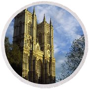 Low Angle View Of An Abbey, Westminster Round Beach Towel