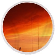 Low Angle View Of Antennas, Phoenix Round Beach Towel by Panoramic Images