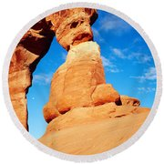 Low Angle View Of Delicate Arch, Arches Round Beach Towel