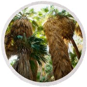 Low Angle View Of Palm Trees, Palm Round Beach Towel