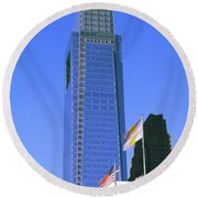 Low Angle View Of Skyline In Downtown Round Beach Towel