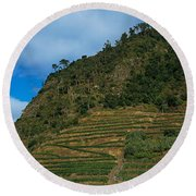 Low Angle View Of Terraced Fields Round Beach Towel
