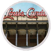 Round Beach Towel featuring the photograph Low Angle View Of The Busch Stadium by Panoramic Images