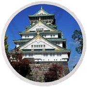 Low Angle View Of The Osaka Castle Round Beach Towel