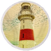 Low Head Lighthouse Round Beach Towel by Wallaroo Images
