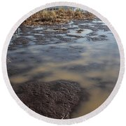 Low Tide At Blackwater Wildlife Refuge In Maryland Round Beach Towel