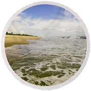 Low Tide At The Beach Round Beach Towel
