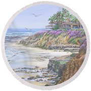 Low Tide Solana Beach Round Beach Towel
