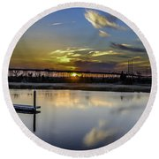 Lowcountry Marina Sunset Round Beach Towel