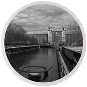 Lowell Ma Architecture Bw Round Beach Towel
