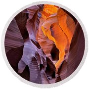 Lower Antelope Glow Round Beach Towel by Jerry Fornarotto