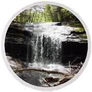 Lower Chapel Brook Falls Round Beach Towel