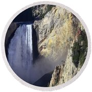 Round Beach Towel featuring the photograph Lower Falls by David Andersen