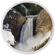 Lower Falls Of The Yellowstone Round Beach Towel