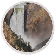 Round Beach Towel featuring the photograph Lower Falls - Yellowstone by Mary Carol Story