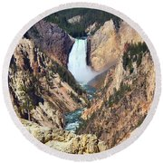 Round Beach Towel featuring the photograph Lower Falls Yellowstone by Teresa Zieba