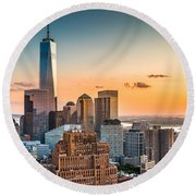 Lower Manhattan At Sunset Round Beach Towel