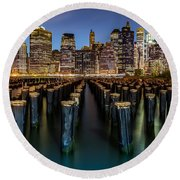 Lower Manhattan Round Beach Towel by Mihai Andritoiu