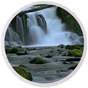 Lower Mcdowell Creek Falls Round Beach Towel