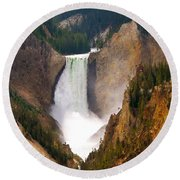 Round Beach Towel featuring the photograph Lower Yellowstone Falls by Eric Tressler