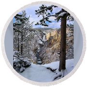 Lower Yellowstone Falls In October Round Beach Towel
