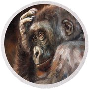 Lowland Gorilla Round Beach Towel by David Stribbling