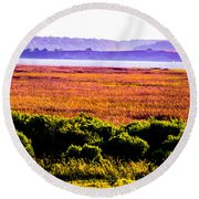 Lowland Light  Round Beach Towel by Mary Ward