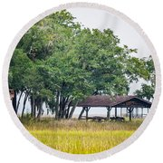 Lowland Picnic Place  Round Beach Towel by Mary Ward