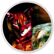 Lucifer Sam Tiger Cat Round Beach Towel