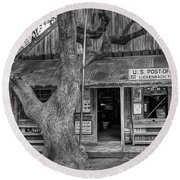 Luckenbach 2 Black And White Round Beach Towel