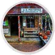 Luckenbach Texas Round Beach Towel by Judy Vincent